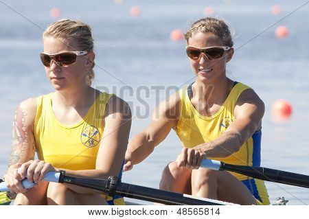 MONTEMOR-O-VELHO, PORTUGAL 10/09/2010. Swedish team, RADSTROEM Karin LILJA Cecilia, competing in the Lightweight Women's Double Sculls at the 2010 European Rowing Championships