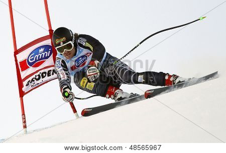 VAL GARDENA, ITALY 18 December 2009. Erik Fisher (USA) competing in the Audi FIS Alpine Skiing World Cup Super-G race