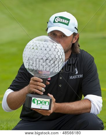SAINT-OMER, FRANCE. 20-06-2010, Martin Wiegele (AUT)  after winning  the European Tour, 14th Open de Saint-Omer, part of the Race to Dubai tournament and played at the AA Saint-Omer Golf Club .