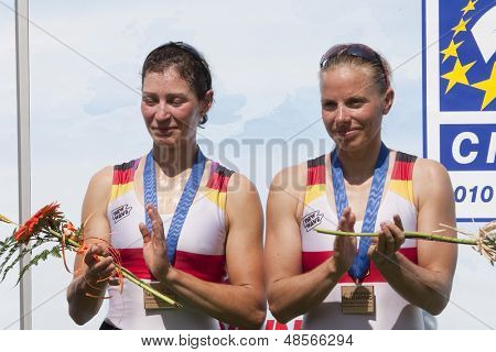 MONTEMOR-O-VELHO, PORTUGAL 12/09/2010. German team, REIMER Daniela NOSKE Anja, bronze medal winners in the womens lightweight double sculls at the 2010 European Rowing Championships