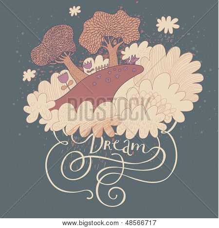 Cute vector background with mountain in the clouds. Dream landscape with trees, flowers and fox in the night. Loneliness concept.
