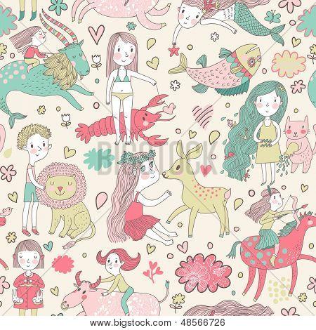 Funny seamless pattern with zodiac sign. Cute children with animals. Capricorn, pisces, aquarius, virgo, cancer, taurus, leo, libra, sagittarius.
