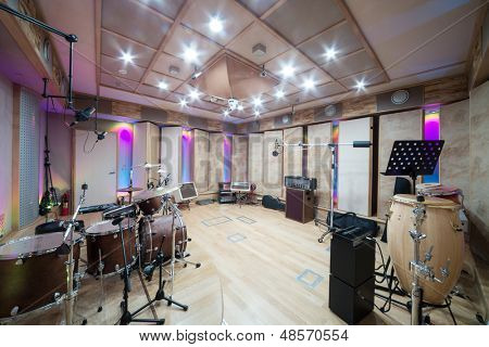 MOSCOW - DEC 25: Empty room with music equipment in Recording Studio Nautilus on December 25, 2012 in Moscow, Russia.