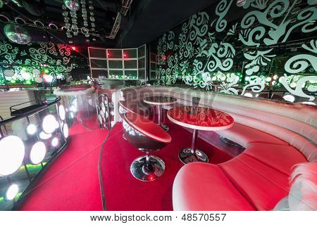 MOSCOW - JAN 18: Recreation area with sofa and table in the nightclub Pacha on January 18, 2013 in Moscow, Russia.
