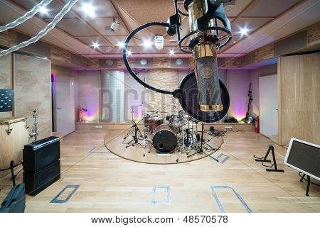 MOSCOW - DEC 25: Room with music equipment in Recording Studio Nautilus on December 25, 2012 in Moscow, Russia.