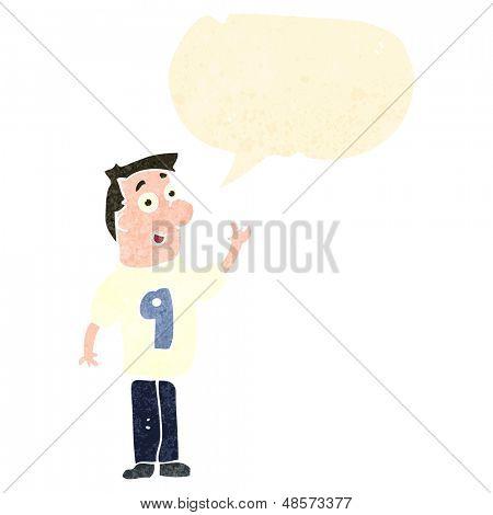 retro cartoon man wearing shirt number 9