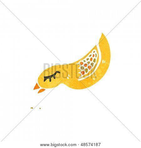 retro cartoon bird pecking seed