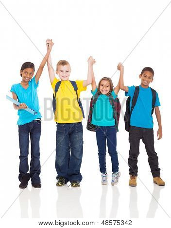 portrait of happy kids with hands up isolated on white