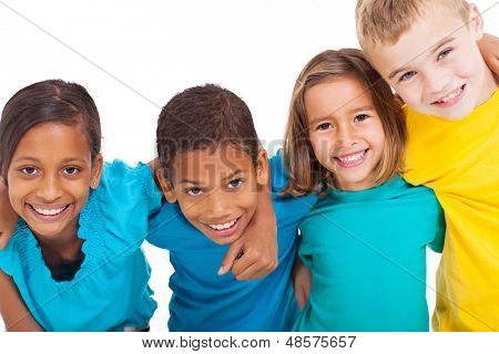 group of multiracial kids portrait in studio on white background