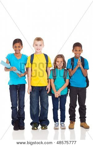 portrait of smiling school children standing on white background