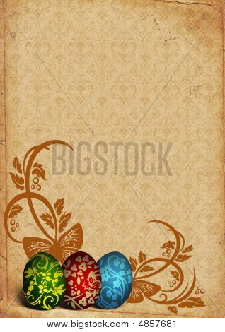 Painted Easter Eggs On Vintage Background