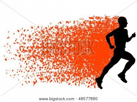 Vector drawing athletes on running race. Property release is attached to the file