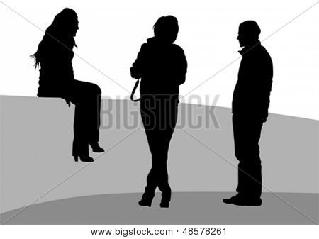 Vector illustration of crowd of young girls and boys. Property release is attached to the file