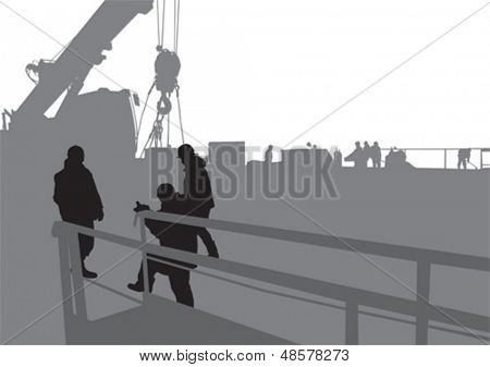 Vector drawing working at construction site. Property release is attached to the file