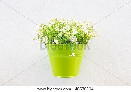 Jardinera verde y flores en la pared