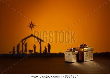 Geburt Jesus mit Geschenk