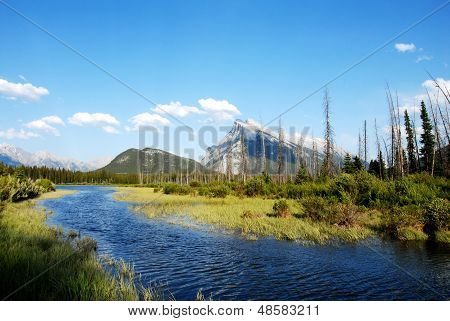 Vermillion Lakes And Mount Rundle In Spring,canadian Rockies,canada
