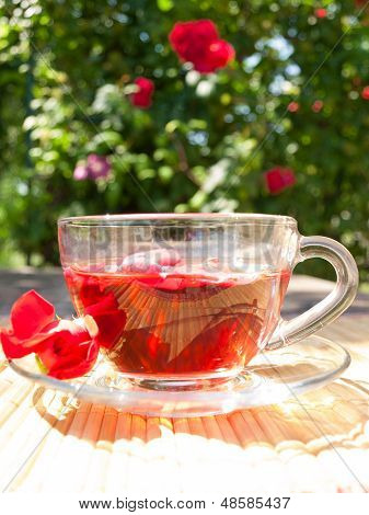 Natural Tea From Rose-petals On The Background Of Rose Bush