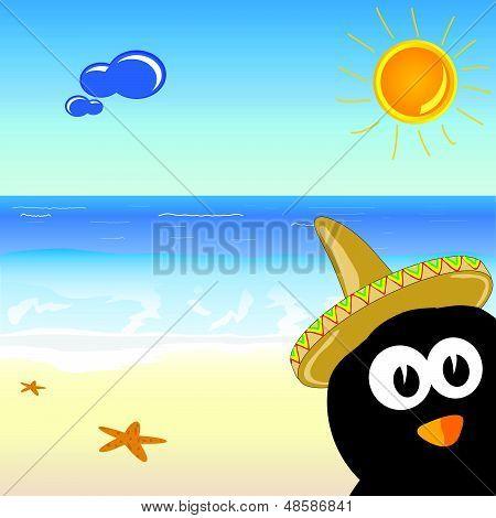 Penguin On The Paradise Beach Vector Illustration