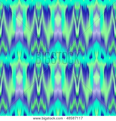 Colorful tie dye ethnic geometric fabric seamless pattern in blue and green, vector