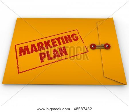 A confidential or secret marketing plan document sealed inside a yellow confidential or classified envelope