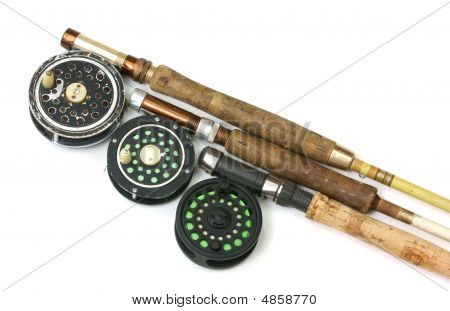 Three Old Fly Fishing Rods And Reels