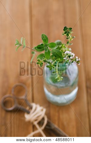 Bouquet garni - herbs  in a bottle on old wooden table