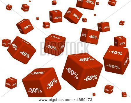 Cajas rojas con las mercancías con un descuento