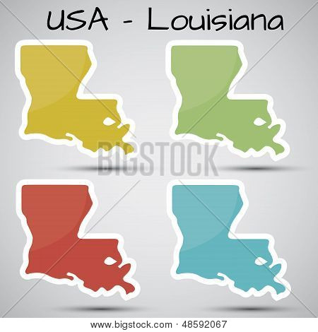 stickers in form of Louisiana state, USA