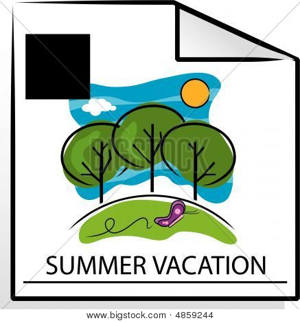 Vector Summer Vacation Calendar Page