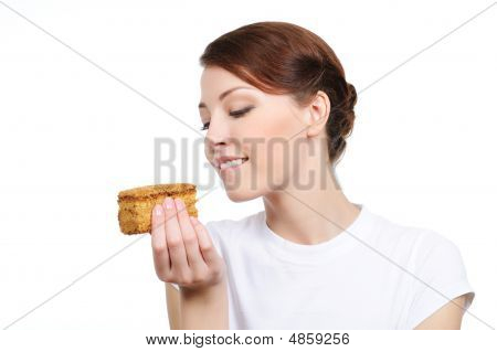 Woman Eating Tempting Cake