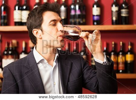 Portrait of a sommelier tasting a wine glass