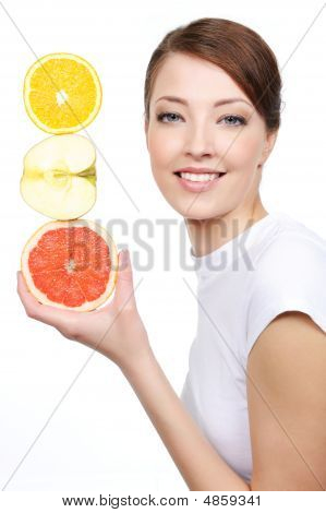 Laughing Woman With Citrous Fruits