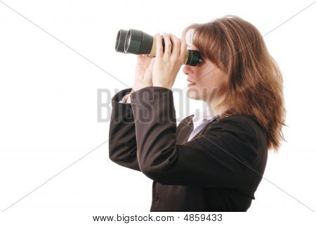 Attractive Business Woman With Binoculars - Isolated