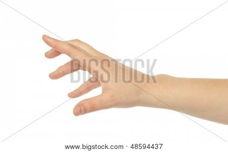Extended hand for help on a white background