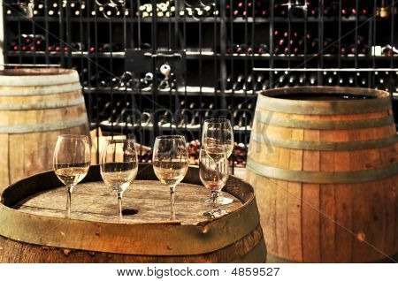 Wine  Glasses And Barrels