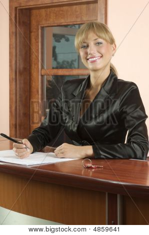 Receptionist Smiling