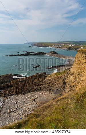 Bude beach and coast North Cornwall England UK