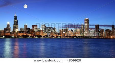 Chicago Skyline Under The Moonlight