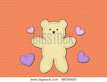 Teddy Bear Graphic Board Orange Background