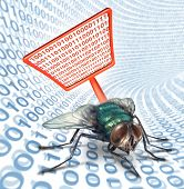 pic of virus scan  - Computer bug security service as a high technology concept for digital data protection with a red fly swatter killing a bug on a binary code background as scanning for viruses on electronic devices - JPG