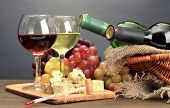 picture of brie cheese  - Composition with wine - JPG
