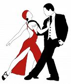 foto of waltzing  - Abstract vector illustration of latino dancers couple - JPG
