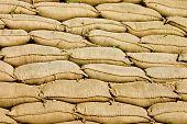 image of sandbag  - A Pile or Wall of Sandbags - JPG