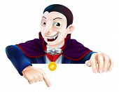 image of dracula  - Cartoon Count Dracula vampire character for Halloween above a sign or banner pointing down at it - JPG