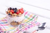 image of cobnuts  - granola with yogurt and strawberry - JPG