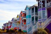 stock photo of beach-house  - row of colorful beach houses - JPG