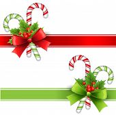picture of ribbon decoration  - Vector illustration Christmas decoration with holly and candy - JPG