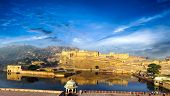 stock photo of mughal  - India Jaipur Amber fort in Rajasthan - JPG