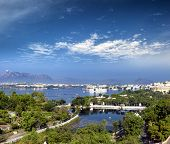 View of Pichola lake and Udaipur city, India, Rajasthan